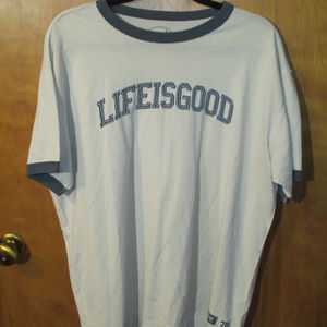 Life Is Good Embroidered Spell Out Ringer Shirt L